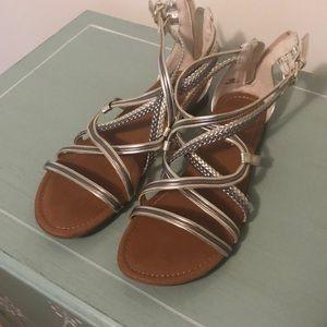 Size 8 silver/gold metallic gladiator sandals